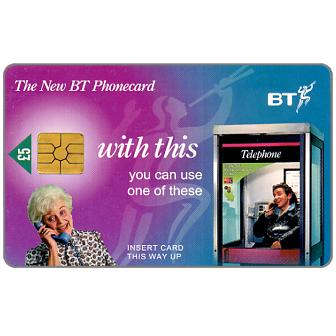 Phonecard for sale: 1st National issue, Old woman at phone, £5