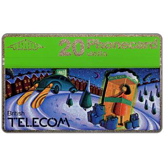 Phonecard for sale: Christmas 1990, phone booth and car, 20 units