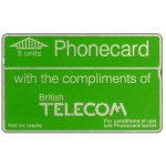 Phonecard for sale: Definitive 3rd series, notched, complimentary card, 5 units