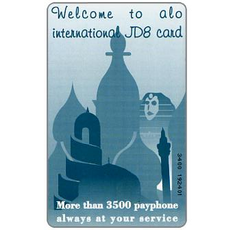 Phonecard for sale: Alo - Welcome to Alo, 06/1999, matt surface and inverted back, 8JD