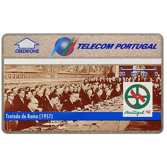 Phonecard for sale: Telecom Portugal - Portugal 92, Treaty of Rome (1957), 30 units