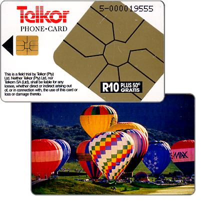 Phonecard for sale: Telkor - Trial card, Hotair balloons, R10