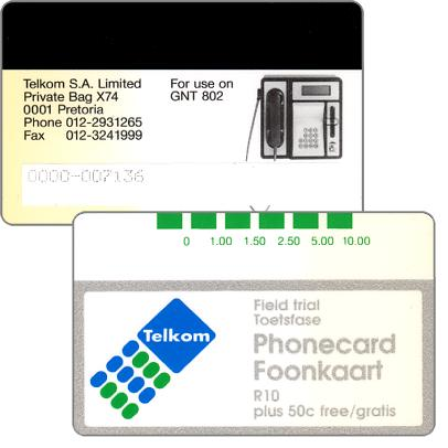 Phonecard for sale: Telkom - Field trial Grinaker, R10