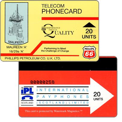 Phonecard for sale: Phillips Petroleum Co. U.K. LTD., Maureen 'A', 20 units
