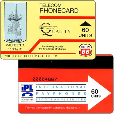 Phonecard for sale: Phillips Petroleum Co. U.K. LTD., Maureen 'A', 60 units