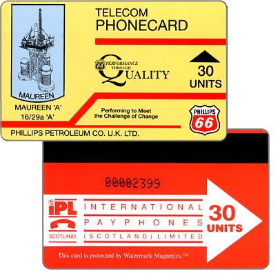 Phonecard for sale: Phillips Petroleum Co. U.K. LTD., Maureen 'A', 30 units
