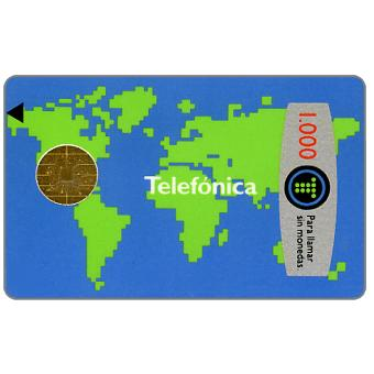 Phonecard for sale: World map, 1000 pta