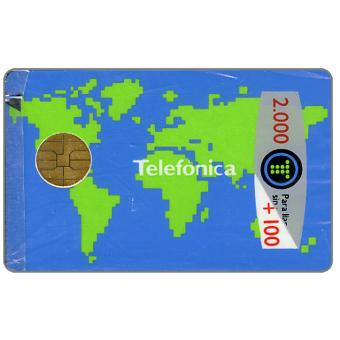 Phonecard for sale: World map, promotional card, 2000+100 pta