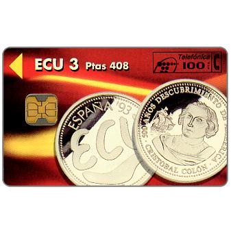 Phonecard for sale: ECU coins, on back flags & map of Europe, 100 pta