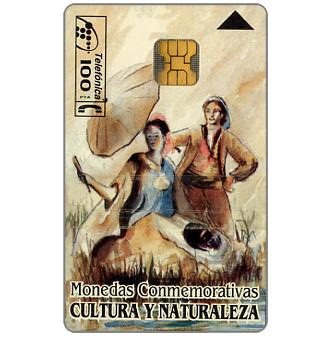 Phonecard for sale: Cultura y Naturaleza, silver and gold coins on back, 100 pta
