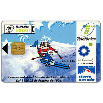Phonecard for sale: Sierra Nevada 1996 Ski championship, 1000 pta