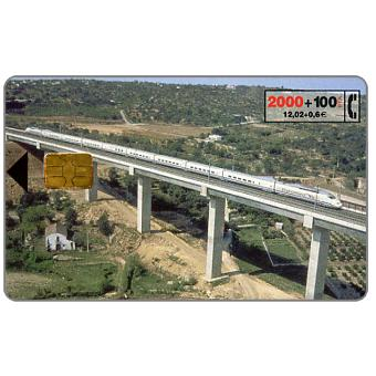 Phonecard for sale: Train on bridge, 2000+100 pta