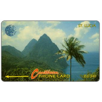 Phonecard for sale: Pitons, new logo, 9CSLC, EC$40