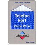 The Phonecard Shop: Sweden, Grey/blue card, 20 kr