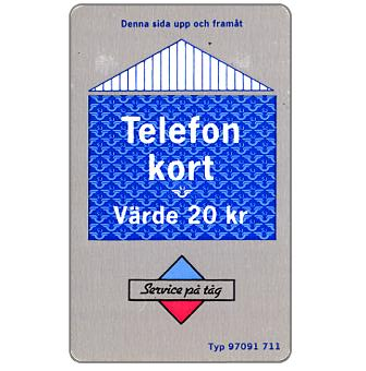 Phonecard for sale: Grey/blue card, 20 kr