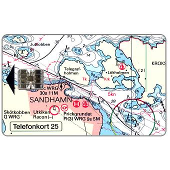 Phonecard for sale: Telia -  Sandhamn, nautic map, 25 units