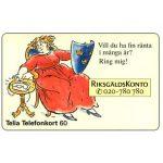 The Phonecard Shop: Sweden, Telia - RiksgaldsKonto, 60 units