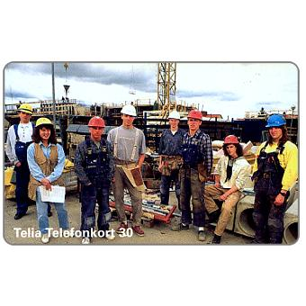 Phonecard for sale: Telia - Construction workers, 30 units