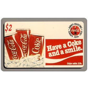 Phonecard for sale: Score Board - Coca-Cola, Have a Coke and a Smile, cans, $2