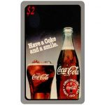 The Phonecard Shop: Score Board - Coca-Cola, Have a Coke and a Smile, glass and bottle, $2