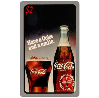 Score Board - Coca-Cola, Have a Coke and a Smile, glass and bottle, $2