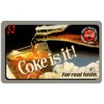 The Phonecard Shop: Score Board - Coca-Cola, Coke is it!, glass and bottle, $2