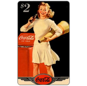 Phonecard for sale: Score Board - Coca-Cola, 1944 Original Art, Cheerleader, $2