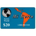 The Phonecard Shop: U.S.A., Access World - Mi Tierra, $20