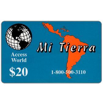 Phonecard for sale: Access World - Mi Tierra, $20