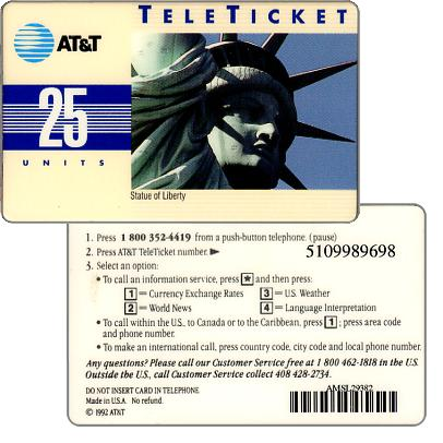 Phonecard for sale: AT&T Teleticket - Statue of Liberty, english text, 25 u