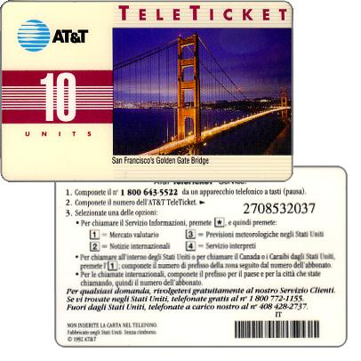 Phonecard for sale: AT&T Teleticket - San Francisco's Golden Gate Bridge, italian text, 10 units