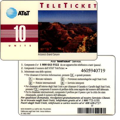 Phonecard for sale: AT&T Teleticket - Arizona's Grand Canyon, italian text, 10 units