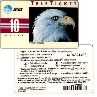 Phonecard for sale: AT&T Teleticket - American Bald Eagle, spanish text, 10 units