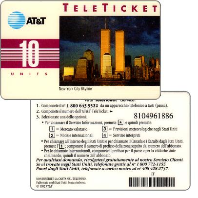 Phonecard for sale: AT&T Teleticket - New York City Skyline, italian text, 10 units