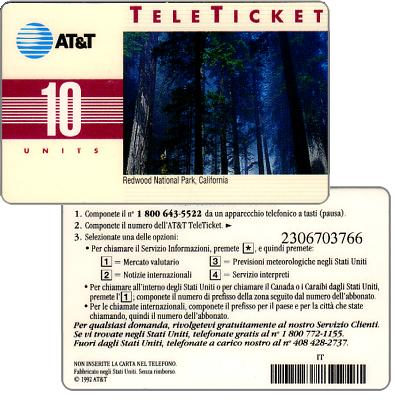 Phonecard for sale: AT&T Teleticket - Redwood National Park, California, italian text, 10 units