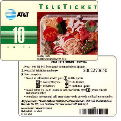 Phonecard for sale: AT&T Teleticket - Holiday Treats, english text, 10 units