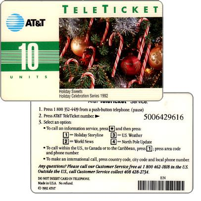 Phonecard for sale: AT&T Teleticket - Holiday Sweets, english text, 10 units