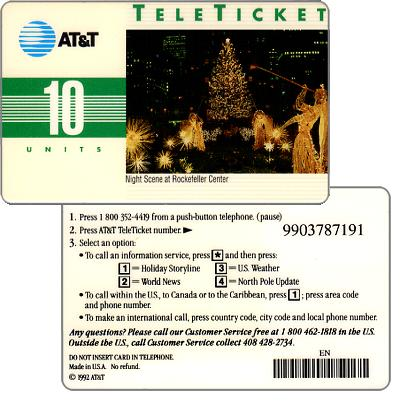 Phonecard for sale: AT&T Teleticket - Night scene at Rockfeller Center, english text, 10 units