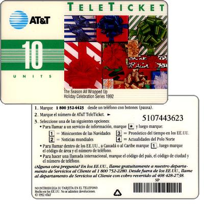Phonecard for sale: AT&T Teleticket - The Season all wrapped up, spanish text, 10 units