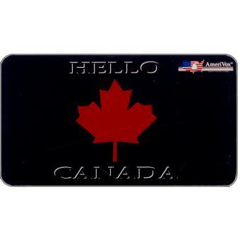 The Phonecard Shop: U.S.A., Amerivox - Hello Canada, Business card size, $20