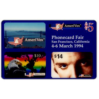 Phonecard for sale: Amerivox - PhoneCard Fair, San Francisco, California, $5