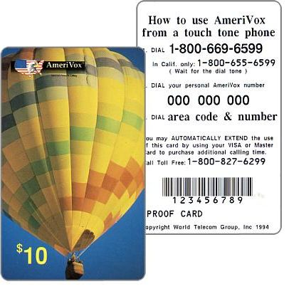 Amerivox - Hot air balloon, PROOF CARD, $10
