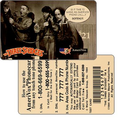 Amerivox - The Three Stooges, TEST CARD, $21
