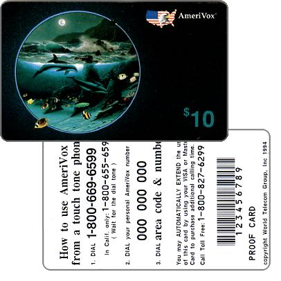 Amerivox - Wyland Whales series 1, Dolphin Moon, PROOF CARD, $10