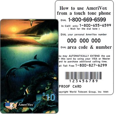Amerivox - Wyland Whales series 1, Kissing Dolphins, PROOF CARD, $10