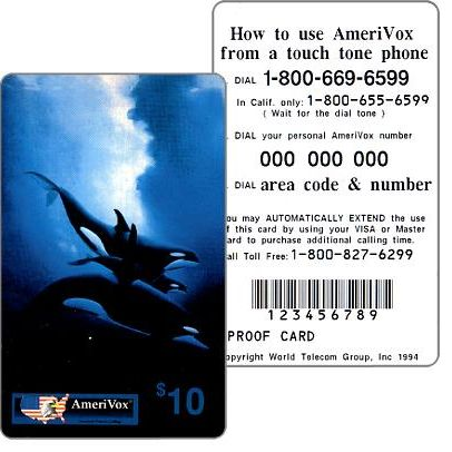 Amerivox - Wyland Whales series 1, Orca Trio, PROOF CARD, $10