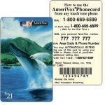 The Phonecard Shop: Amerivox - Wyland Marine Animals, Maui Humpback Whale Breaching, TEST CARD, $21