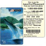 The Phonecard Shop: U.S.A., Amerivox - Wyland Marine Animals, Maui Humpback Whale Breaching, TEST CARD, $21