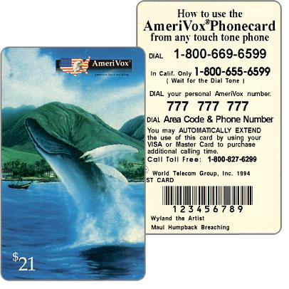 Amerivox - Wyland Marine Animals, Maui Humpback Whale Breaching, TEST CARD, $21