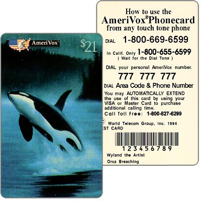 Amerivox - Wyland Marine Animals, Orca Whale Breaching, TEST CARD, $21